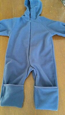 Lands End baby long-sleeved fleece outerwear bunting snowsuit blue 12-18 months