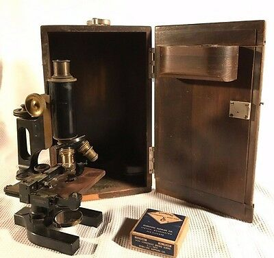 Antique 1912 Bausch & Lomb Jug Handle Brass Microscope