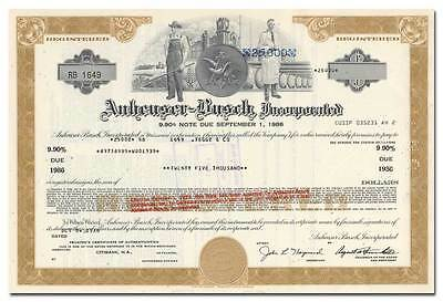 Anheuser-Busch Incorporated Bond Certificate