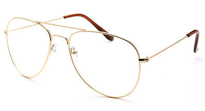Classic Vintage Retro Aviator Clear Lens Gold Metal Frame Eyeglasses Glasses