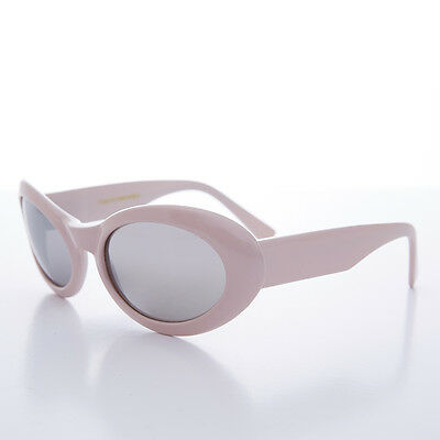 90s Pink Wide Curve Oval Lens Sunglass with Mirror Lens - Lanie