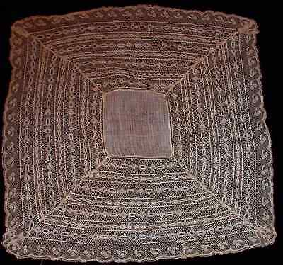 "Antique French Lace Bridal Handkerchief Wedding Hanky 14"" Signed DIY"