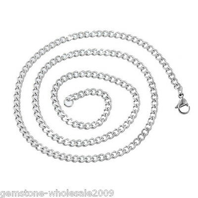 Wholesale 1-100 Stainless Steel Cuban Curb Link Chain Necklace Silver Tone 52cm
