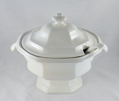 Vintage 3pc Soup Tureen - White Pottery Henry Ford Museum Collection by Iroquois