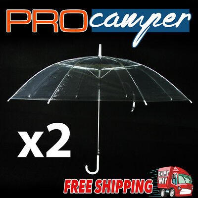 2x Clear Transparent 53cm Rain Umbrella Parasol PVC Dome Wedding Party Favor
