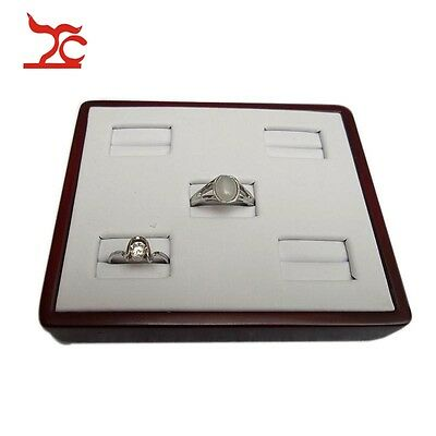 Jewelry Display Ring Holder Wood Painted White PU Tray Organizer Case Stand