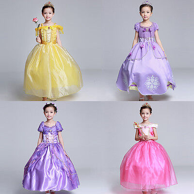 Kids Girl Disney Princess Aurora Rapunzel Belle Sophia Halloween Cosplay Dress
