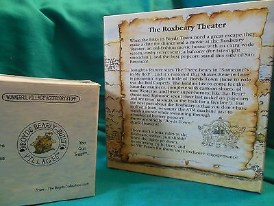 Boyds Bearly Built Villages The Roxbeary Theater #19017v PE NIB w/accessories