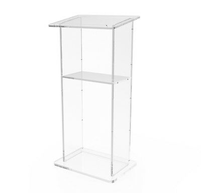 "Clear Acrylic Lucite Plexiglass Church Conference Podium Pulpit Lectern 43"" Tall"