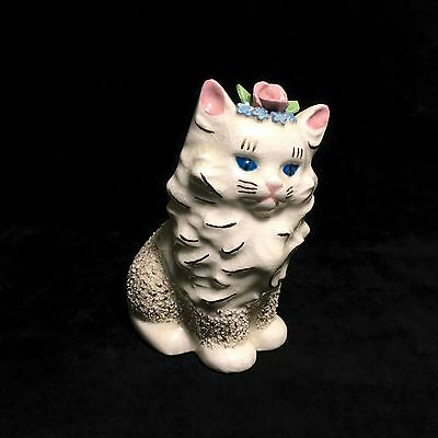"""5"""" Tall White Persian Cat / Kitty Ceramic Figurine with Blue Eyes & Pink Flowers"""