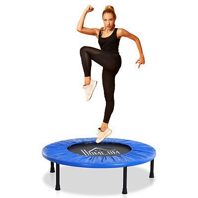HOMCOM 8Ft Trampoline Bounce Fitness Train Spring w/ Blue Pad EPE Foam Home Gym