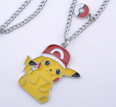 Anime Pokemon Go Ash Pikachu Necklace Metal Pendant Cosplay Accessories Gift