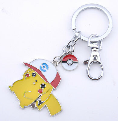 Anime Pokemon Go Ash Pikachu Keychain Metal Pendant Cosplay Accessories Gift