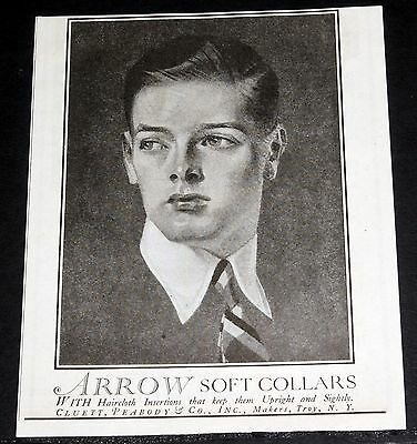 1919 Old Magazine Print Ad, Arrow Soft Collars, With Haircloth Insertions, Art!