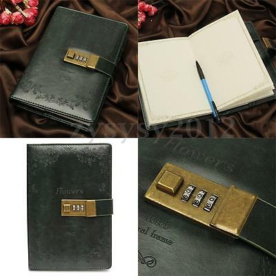 B6 Leather Dark Green Rose Embossed Journal Diary with Password Lock Notebook