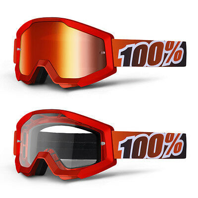 2017 100% Strata Motocross Mx Bike Mtb Goggles Fire Red