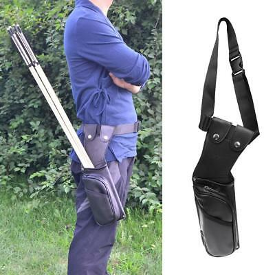 Leather Side Hip Archery Arrow Quiver Bag with Spare Parts Zipper Pocket