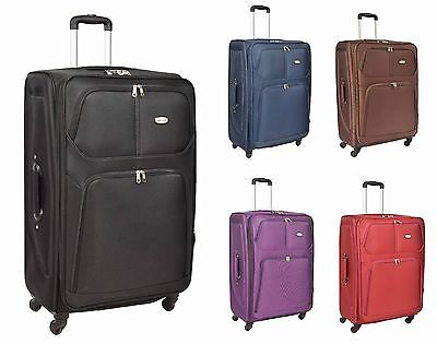 4 Wheel Suitcase Lightweight Soft Case Expandable Luggage Trolley Cabin Bags