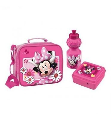 Minnie Mouse Childrens School Lunch Box Bag Food Container Sports Drinks Bottle