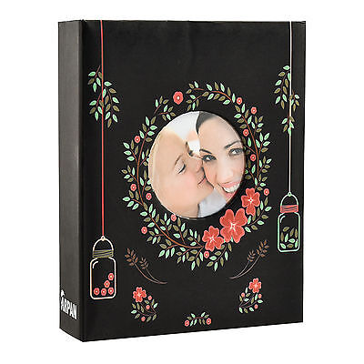 "6x4"" 200 Photos Large Slip in Photo Album with front Window - Floral Black"