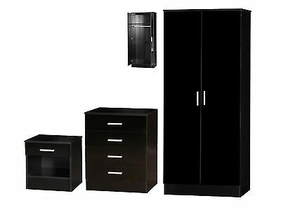 Galaxy High Gloss Black Bedroom Furniture Sets - 3 Piece Wardrobe Chest Bedside