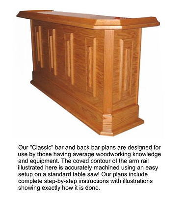 Home Bar Plans Classic Straight Line Design 7 Feet Long. Shipped by Postal Mail.