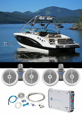 "(2) Rockville Dual 8"" 800w Wakeboard Tower Speakers+2-Channel Amplifier+Amp Kit"