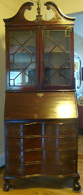 Chippendale Secretary Desk Bookcase Display Cabinet Mahogany