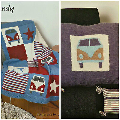 KNITTING PATTERN VW Campervan & Stars Blanket/Throw & Cushion DK Wendy 5739