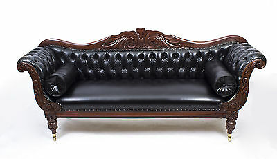 Antique William IV Mahogany & Leather Sofa C1830