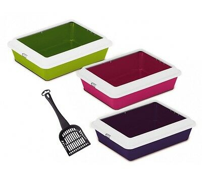 Heritage Pets Large Cat Litter Tray With Rim Colours Quality Box Pan Toilet Loo