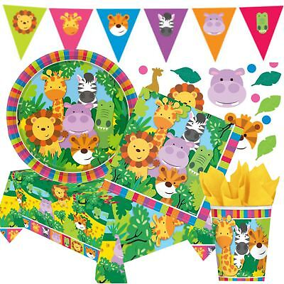 Jungle Friends Animal Childrens Birthday Party Tableware Safari Lion Celebration