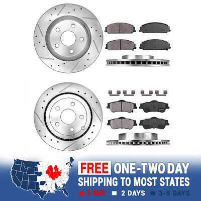 Front + Rear Drilled Slotted Brake Rotors & Ceramic Pads 2008 2009 Pontiac G8 Gt