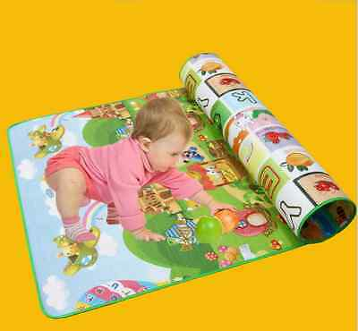 NEW Baby crawl children game pad double folding carpet floor MATS 200*180*0.5 cm