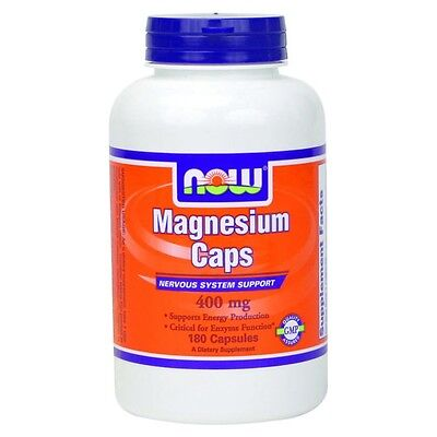 MAGNESIUM CAPS - 400 mg, 180 Vcaps- ENERGY PRODUCTION/ENZYME FUNCTION -NOW FOODS