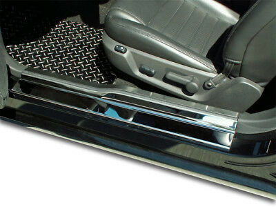 Polished Plain Door Sill Trim Kit w/Brushed Top for 2005-2009 Ford Mustang V6/GT