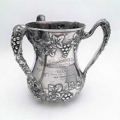 Antique 1904 Sterling Silver Yachting Trophy, Commodore's Cup, Grape Vine Motif