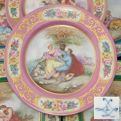 "Antique French Sevres 10"" Pink & GoldCabinet Plate, Hand Painted Romantic Scene"