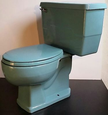 Old Vtg Porcelain Enamel Baby Powder Blue Kohler Commode Toilet