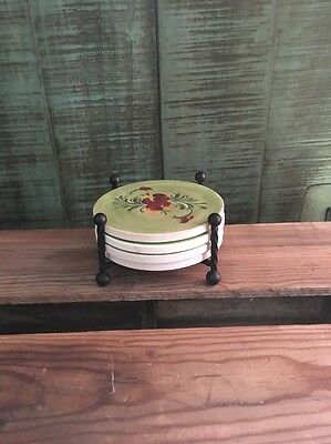 Southern Living at Home Green PROVENCE Coasters by Gail Pittman w/Caddy