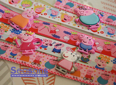 Mix Style Peppa Pig, George & Cartoons Grosgrain Ribbon Cake Party Craft Gifts