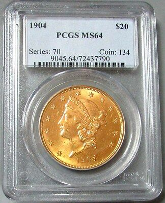 1904 Gold $20 Liberty Head Double Eagle Coin Pcgs Mint State 64