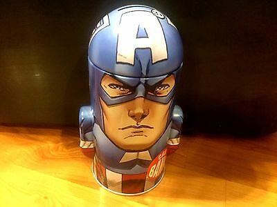 B10 NEW Avengers Captain America Tall Metal Tin Piggy Bank 7'' Cylinder Style