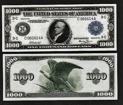 "Reproduction 1918 $1,000 Fedl Reserve Laminated Miniature Banknote Size 5"" x 2"""