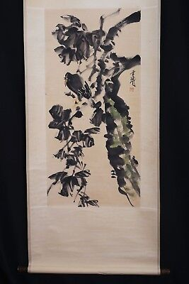 Very Long Old Chinese Scroll Hand Painted a Bird on Tree Marked WangXueTao PP476