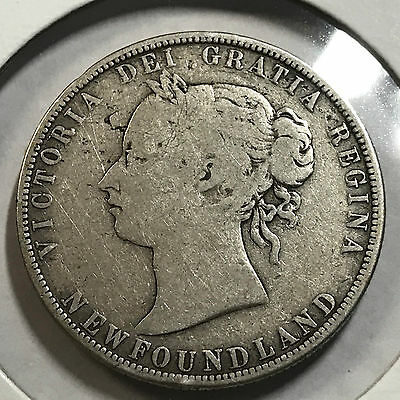 1874 Newfoundland Canada 50 Cents Sterling Silver Better Grade Coin