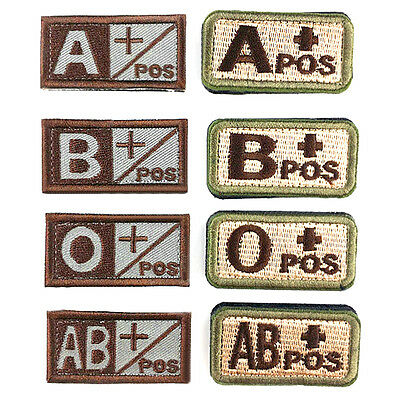 1X Military Blood Embroidered Hook Patch Tactics Armband Badge Type A, B, O, AB