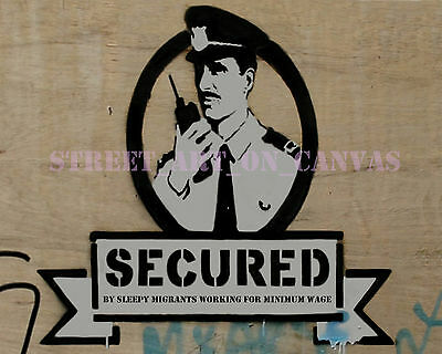 BANKSY Secured Street Art on Canvas 16 x 20 inch Giclee canvas print