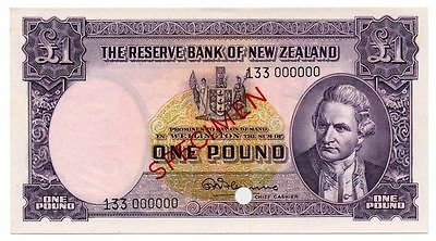 1958 NEW ZEALAND banknote 1 pound SPECIMEN -  UNC
