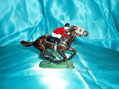 """RACE HORSE & JOCKEY JEWELED PEWTER TRINKET BOX"", unique & different!!!"